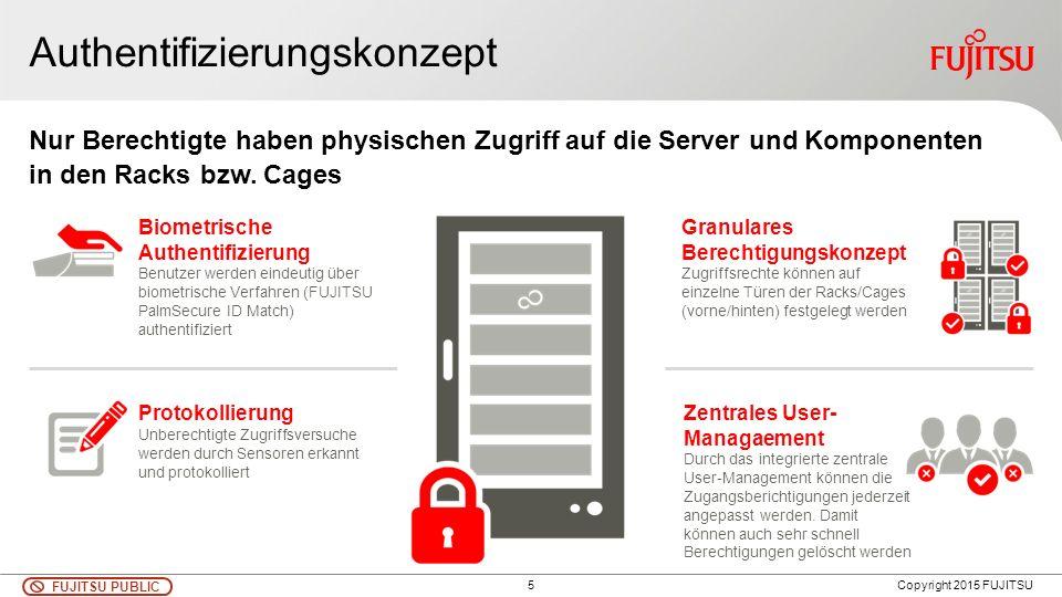 5 FUJITSU PUBLIC Copyright 2015 FUJITSU Nur Berechtigte haben physischen Zugriff auf die Server und Komponenten in den Racks bzw. Cages Authentifizier