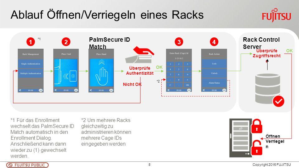 8 FUJITSU PUBLIC Copyright 2015 FUJITSU Ablauf Öffnen/Verriegeln eines Racks *1 Für das Enrollment wechselt das PalmSecure ID Match automatisch in den Enrollment Dialog.