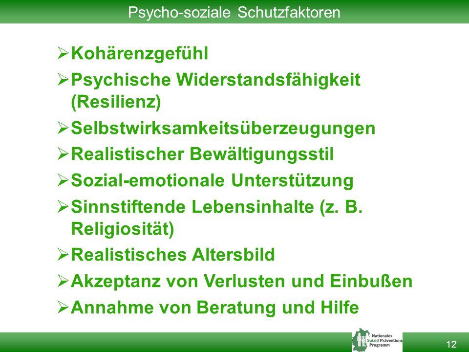 12 Psycho-soziale Schutzfaktoren  Kohärenzgefühl  Psychische Widerstandsfähigkeit (Resilienz)  Selbstwirksamkeitsüberzeugungen  Realistischer Bewältigungsstil  Sozial-emotionale Unterstützung  Sinnstiftende Lebensinhalte (z.