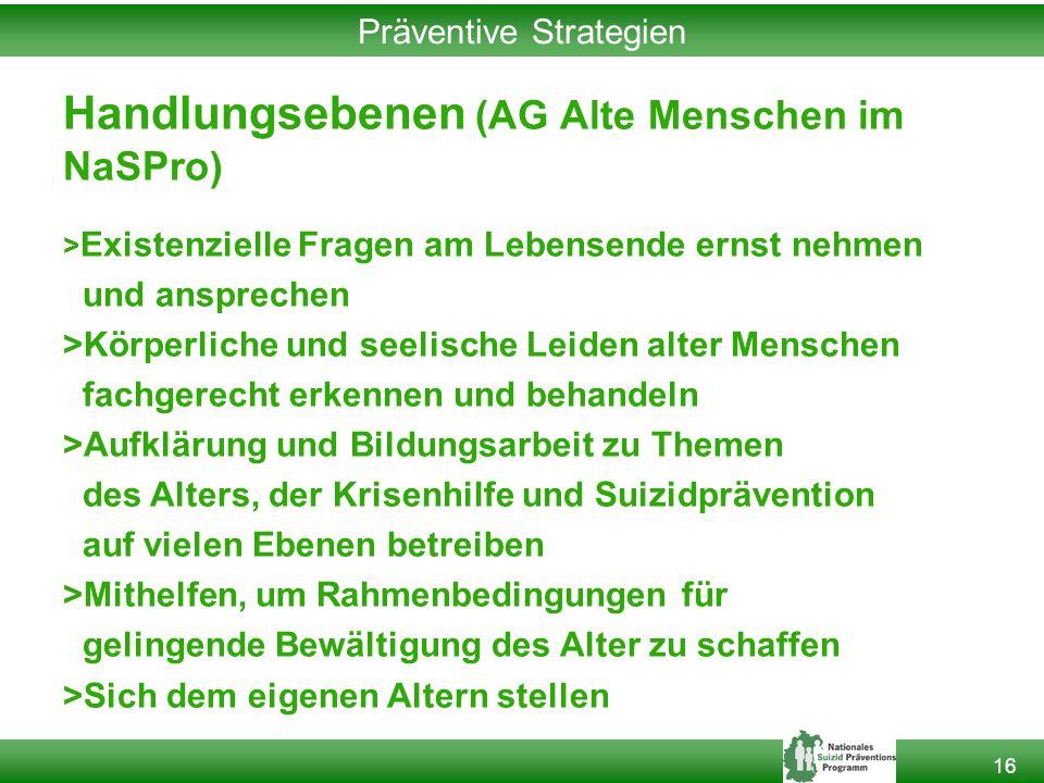 16 Präventive Strategien Handlungsebenen (AG Alte Menschen im NaSPro) > Existenzielle Fragen am Lebensende ernst nehmen und ansprechen >Körperliche un