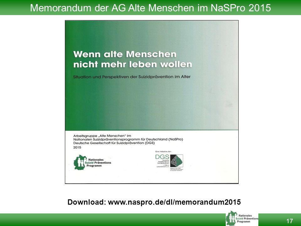 17 Memorandum der AG Alte Menschen im NaSPro 2015 Download: www.naspro.de/dl/memorandum2015