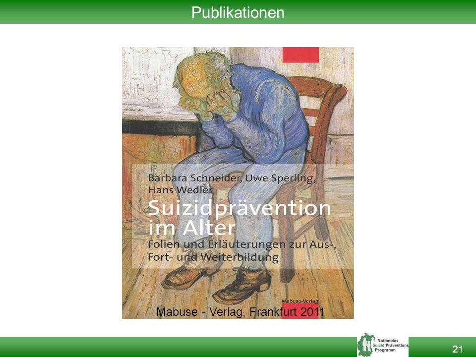 21 Publikationen Mabuse - Verlag, Frankfurt 2011