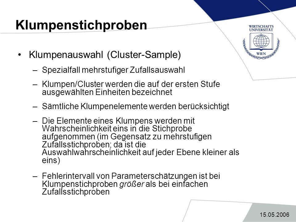 15.05.2006 Klumpenstichproben Klumpenauswahl (Cluster-Sample) –Spezialfall mehrstufiger Zufallsauswahl –Klumpen/Cluster werden die auf der ersten Stuf