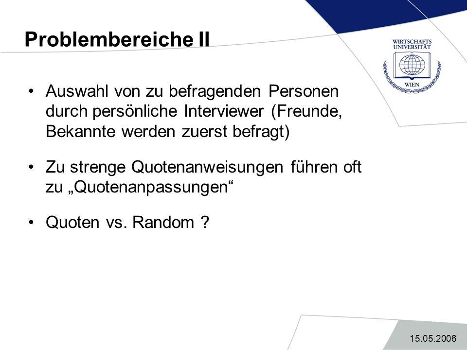 15.05.2006 Problembereiche II Auswahl von zu befragenden Personen durch persönliche Interviewer (Freunde, Bekannte werden zuerst befragt) Zu strenge Q