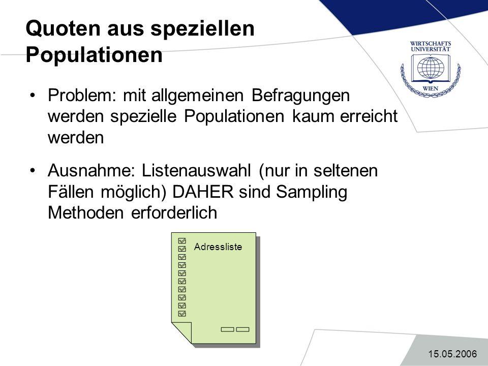 15.05.2006 Quoten aus speziellen Populationen Problem: mit allgemeinen Befragungen werden spezielle Populationen kaum erreicht werden Ausnahme: Listen