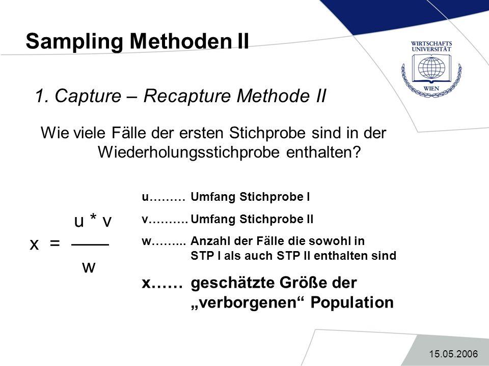 15.05.2006 Sampling Methoden II 1. Capture – Recapture Methode II Wie viele Fälle der ersten Stichprobe sind in der Wiederholungsstichprobe enthalten?