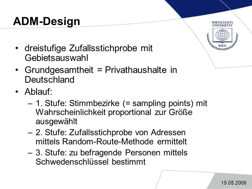 15.05.2006 ADM-Design dreistufige Zufallsstichprobe mit Gebietsauswahl Grundgesamtheit = Privathaushalte in Deutschland Ablauf: –1. Stufe: Stimmbezirk