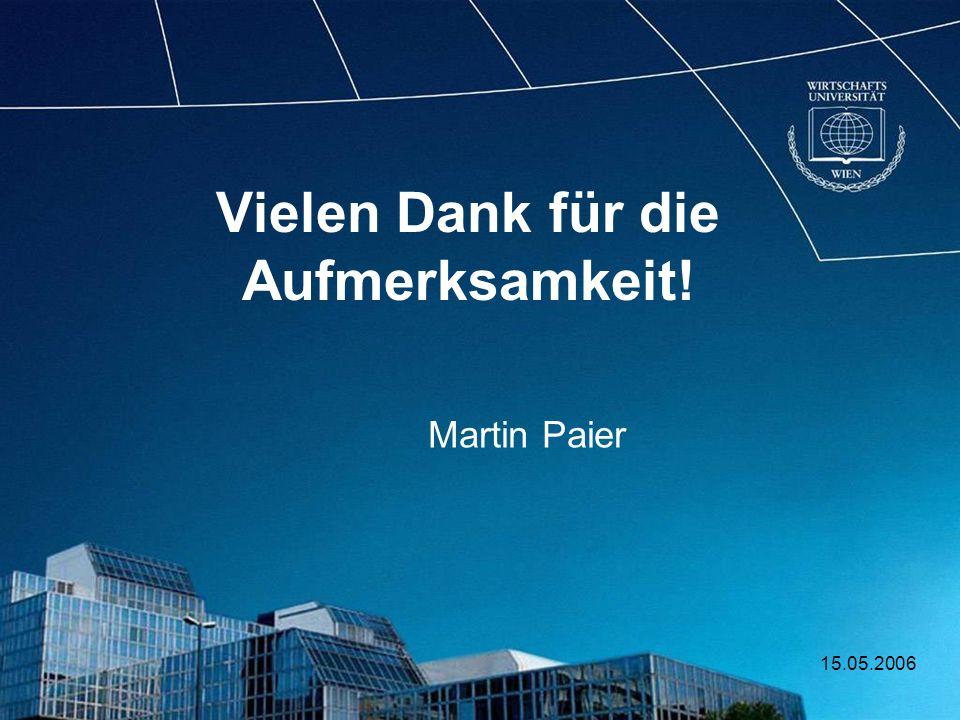15.05.2006 Vielen Dank für die Aufmerksamkeit! Martin Paier