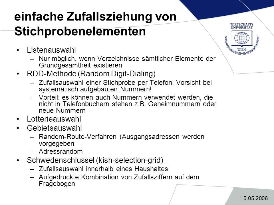 15.05.2006 ADM-Design dreistufige Zufallsstichprobe mit Gebietsauswahl Grundgesamtheit = Privathaushalte in Deutschland Ablauf: –1.