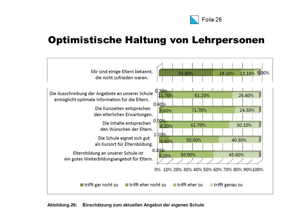 Folie 26 Optimistische Haltung von Lehrpersonen