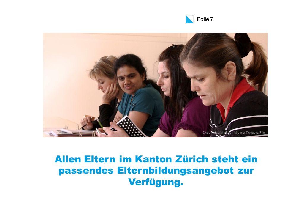 Folie 8 Elternbildung im Kanton Zürich  rund 250 Anbieter von Elternbildung, oft ehrenamtlich  2'450 ausgeschriebene Elternbildungsveranstaltungen 2050 durchgeführte Veranstaltungen  55% Einzelveranstaltungen, 45% Kurse 1/4 der Kurse standardisierte Elternbildungsprogramme  32'000 Teilnehmer/innen (TN)  60% aller erfassten Elternbildungsangebote in der Schweiz  Koordiniert und unterstützt durch die Bildungsdirektion