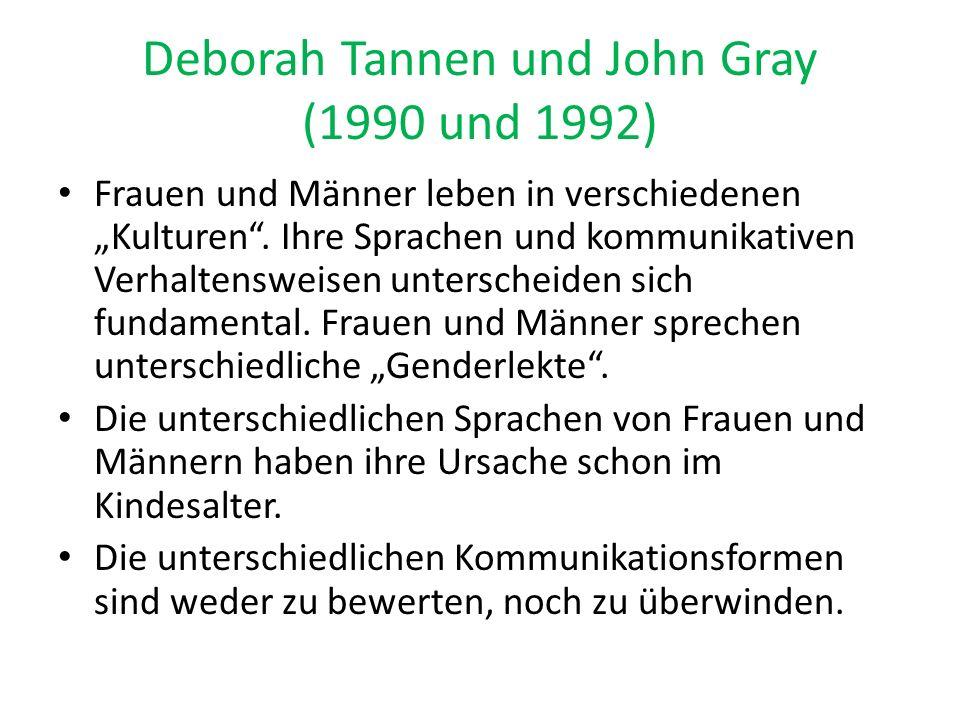 """Deborah Tannen und John Gray (1990 und 1992) Frauen und Männer leben in verschiedenen """"Kulturen"""". Ihre Sprachen und kommunikativen Verhaltensweisen un"""