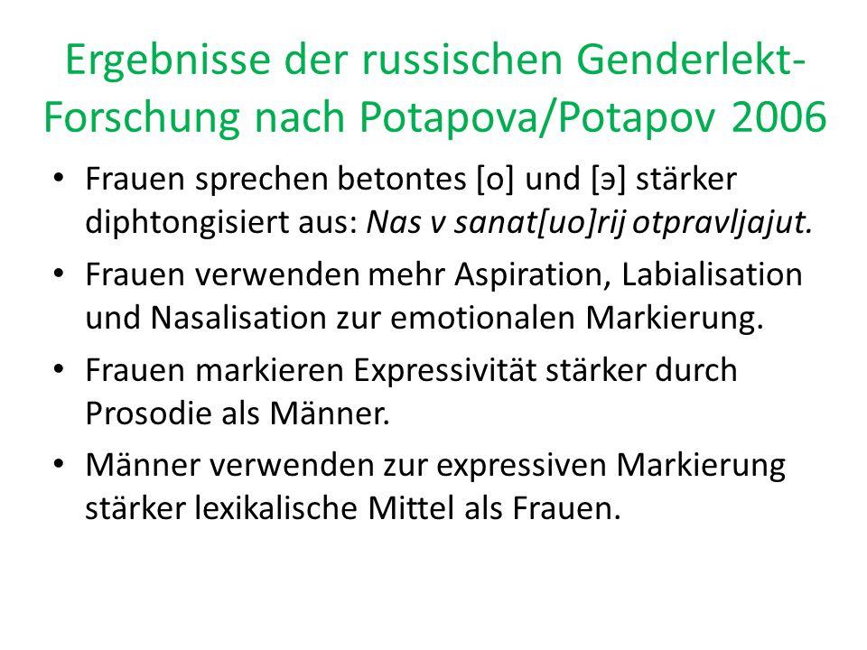 Ergebnisse der russischen Genderlekt- Forschung nach Potapova/Potapov 2006 Frauen sprechen betontes [o] und [э] stärker diphtongisiert aus: Nas v sana