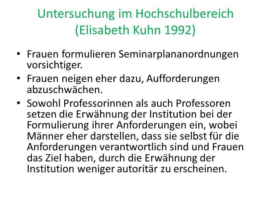Untersuchung im Hochschulbereich (Elisabeth Kuhn 1992) Frauen formulieren Seminarplananordnungen vorsichtiger. Frauen neigen eher dazu, Aufforderungen