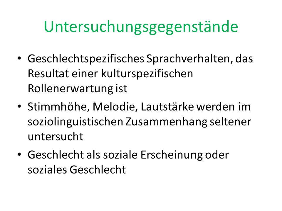 Untersuchungen Begründerinnen der feministischen Linguistik Robin Lakoff und Mary Richie Key Übernahme der Idee in Deutschland durch Senta Trömel-Plötz Frauensprache im Mittelpunkt soziolinguistischer geschlechterbezogenen Untersuchungen jedoch keine Feststellung von einer allgemeinen Frauenvarietät alle anderen Varietäten als geschlechtsneutral oder als männlich
