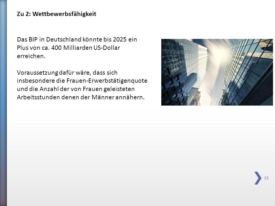 33 Zu 2: Wettbewerbsfähigkeit Das BIP in Deutschland könnte bis 2025 ein Plus von ca. 400 Milliarden US-Dollar erreichen. Voraussetzung dafür wäre, da