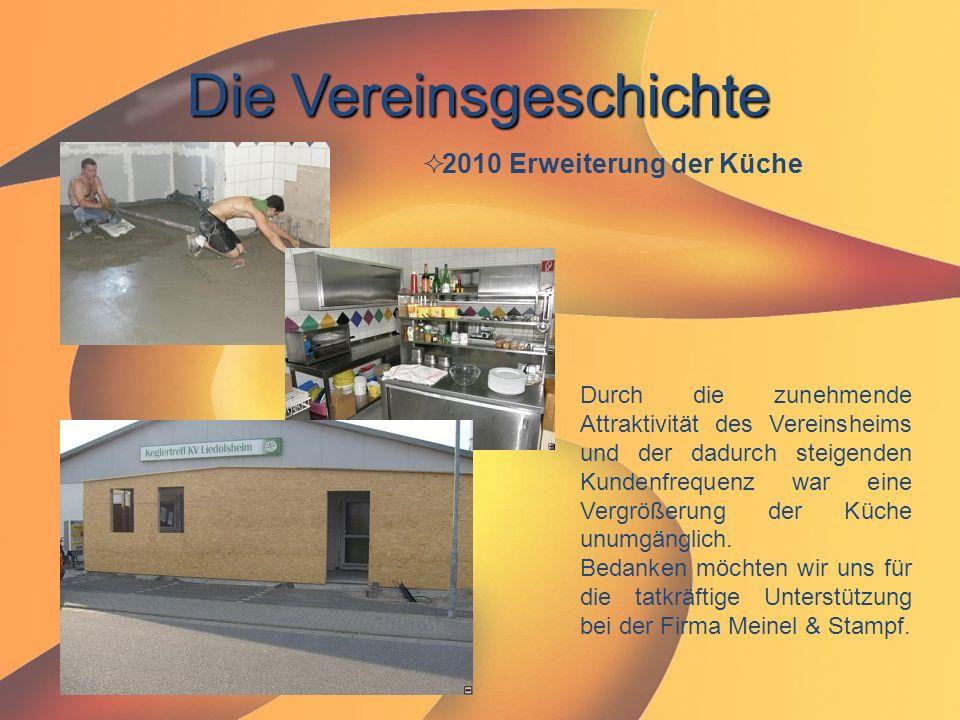 Die Vereinsgeschichte  2010 Erweiterung der Küche Durch die zunehmende Attraktivität des Vereinsheims und der dadurch steigenden Kundenfrequenz war e