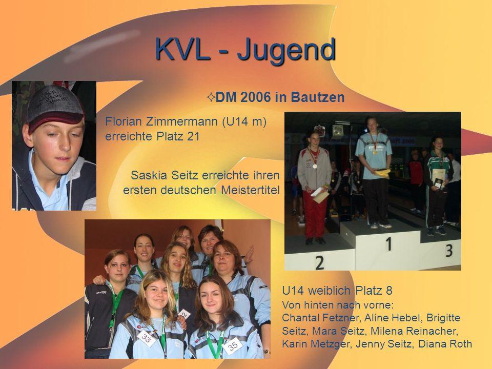 KVL - Jugend  DM 2006 in Bautzen Florian Zimmermann (U14 m) erreichte Platz 21 Saskia Seitz erreichte ihren ersten deutschen Meistertitel U14 weiblic