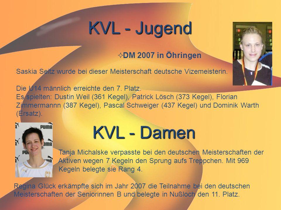 KVL - Jugend  DM 2007 in Öhringen Saskia Seitz wurde bei dieser Meisterschaft deutsche Vizemeisterin. Die U14 männlich erreichte den 7. Platz. Es spi