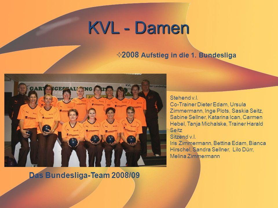 KVL - Damen  2008 Aufstieg in die 1. Bundesliga Das Bundesliga-Team 2008/09 Stehend v.l. Co-Trainer Dieter Edam, Ursula Zimmermann, Inge Plots, Saski