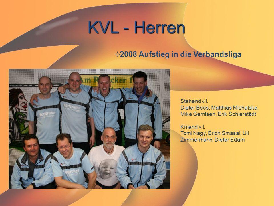 KVL - Herren  2008 Aufstieg in die Verbandsliga Stehend v.l. Dieter Boos, Matthias Michalske, Mike Gerritsen, Erik Schierstädt Kniend v.l. Tomi Nagy,