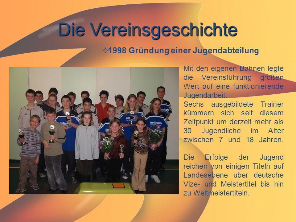 Die Vereinsgeschichte  1998 Gründung einer Jugendabteilung Mit den eigenen Bahnen legte die Vereinsführung großen Wert auf eine funktionierende Jugen