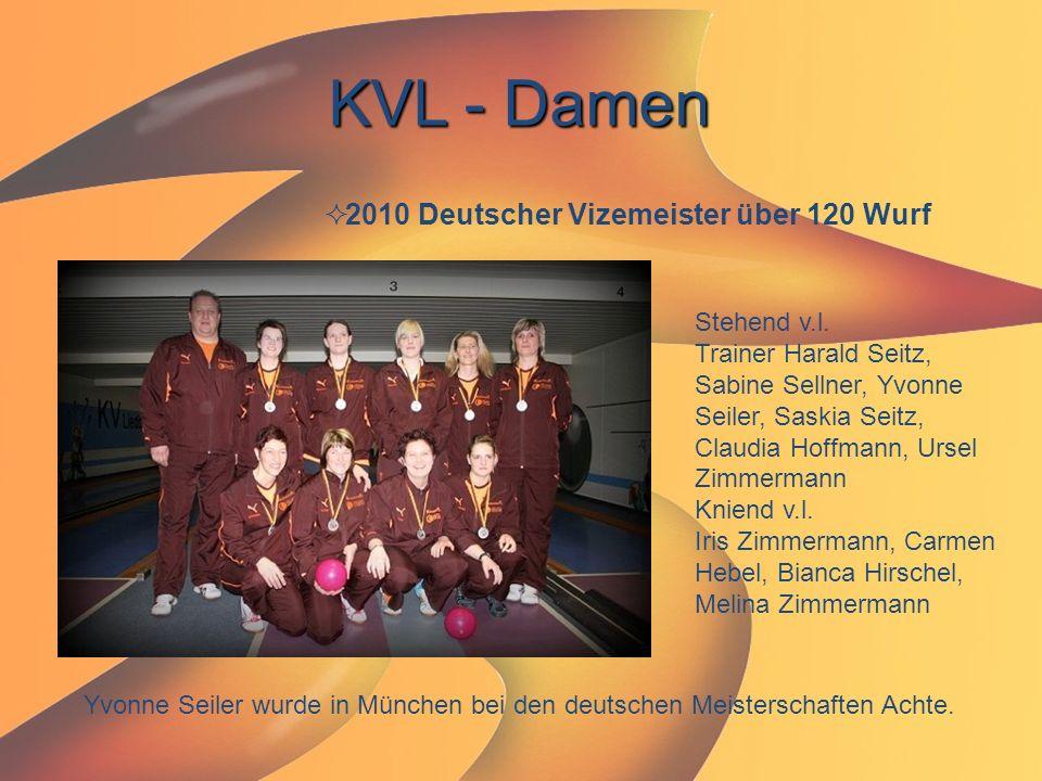 KVL - Damen  2010 Deutscher Vizemeister über 120 Wurf Stehend v.l. Trainer Harald Seitz, Sabine Sellner, Yvonne Seiler, Saskia Seitz, Claudia Hoffman