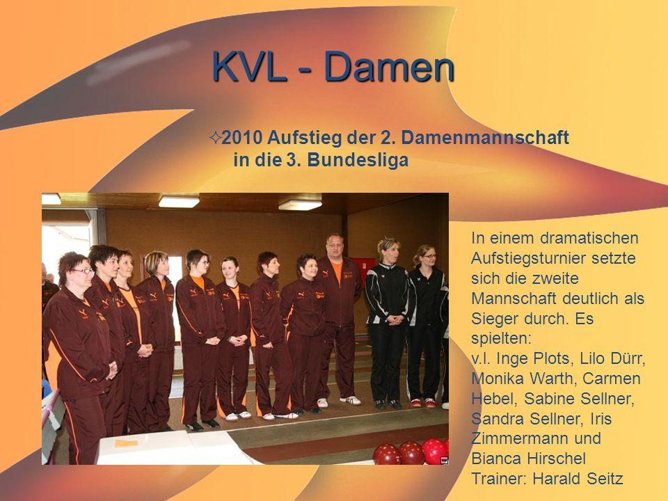 KVL - Damen  2010 Aufstieg der 2. Damenmannschaft in die 3. Bundesliga In einem dramatischen Aufstiegsturnier setzte sich die zweite Mannschaft deutl