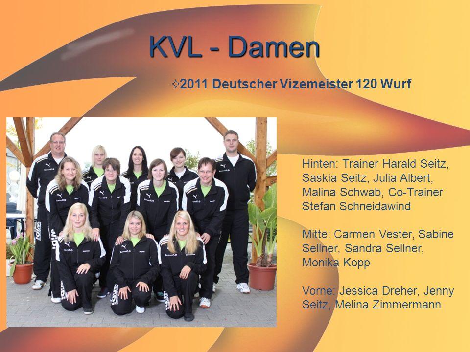 KVL - Damen  2011 Deutscher Vizemeister 120 Wurf Hinten: Trainer Harald Seitz, Saskia Seitz, Julia Albert, Malina Schwab, Co-Trainer Stefan Schneidaw