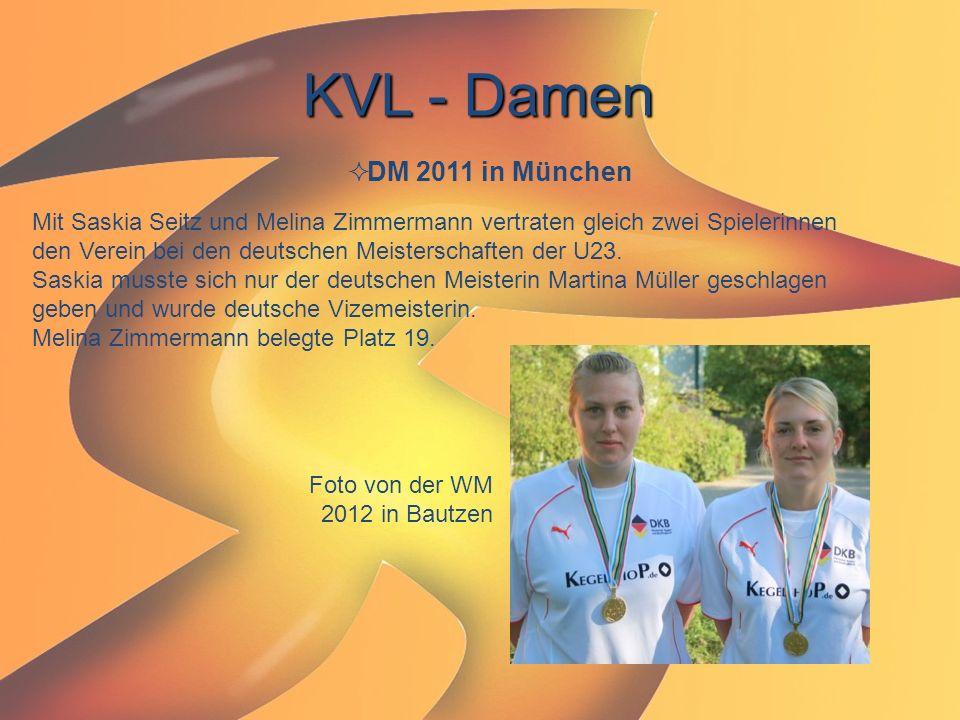 KVL - Damen  DM 2011 in München Mit Saskia Seitz und Melina Zimmermann vertraten gleich zwei Spielerinnen den Verein bei den deutschen Meisterschafte