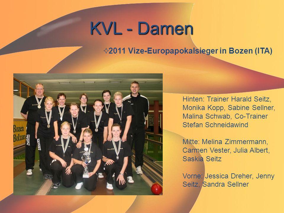 KVL - Damen  2011 Vize-Europapokalsieger in Bozen (ITA) Hinten: Trainer Harald Seitz, Monika Kopp, Sabine Sellner, Malina Schwab, Co-Trainer Stefan S