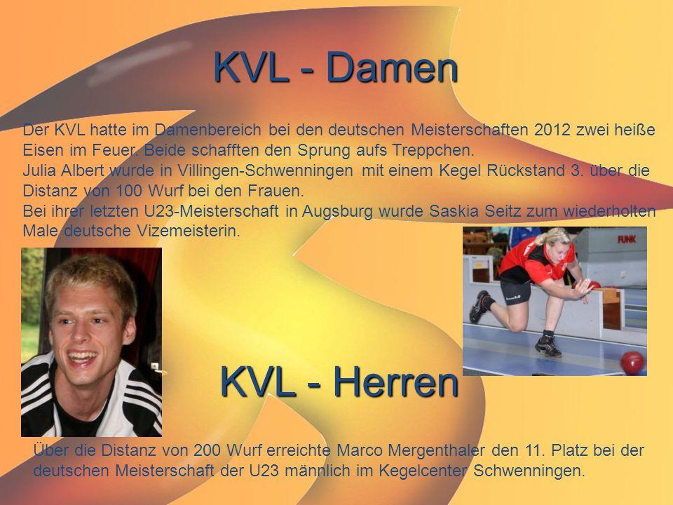 KVL - Damen Der KVL hatte im Damenbereich bei den deutschen Meisterschaften 2012 zwei heiße Eisen im Feuer. Beide schafften den Sprung aufs Treppchen.