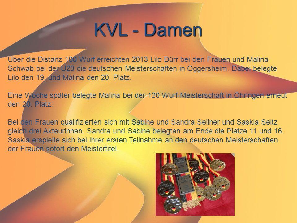 KVL - Damen Über die Distanz 100 Wurf erreichten 2013 Lilo Dürr bei den Frauen und Malina Schwab bei der U23 die deutschen Meisterschaften in Oggershe