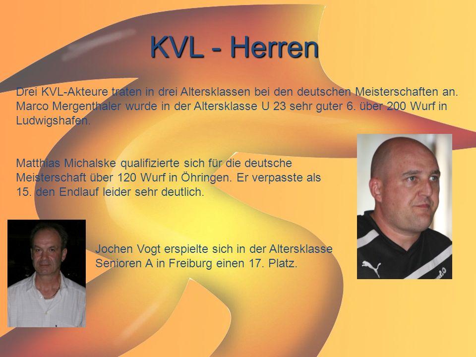 KVL - Herren Drei KVL-Akteure traten in drei Altersklassen bei den deutschen Meisterschaften an. Marco Mergenthaler wurde in der Altersklasse U 23 seh