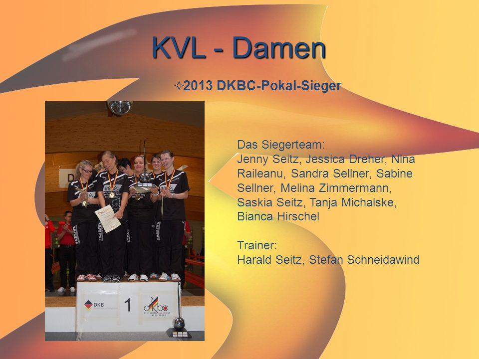 KVL - Damen  2013 DKBC-Pokal-Sieger Das Siegerteam: Jenny Seitz, Jessica Dreher, Nina Raileanu, Sandra Sellner, Sabine Sellner, Melina Zimmermann, Sa