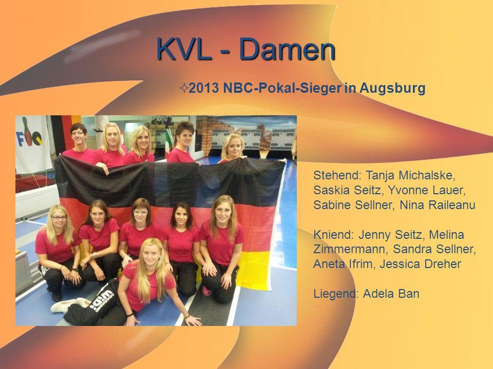 KVL - Damen  2013 NBC-Pokal-Sieger in Augsburg Stehend: Tanja Michalske, Saskia Seitz, Yvonne Lauer, Sabine Sellner, Nina Raileanu Kniend: Jenny Seit