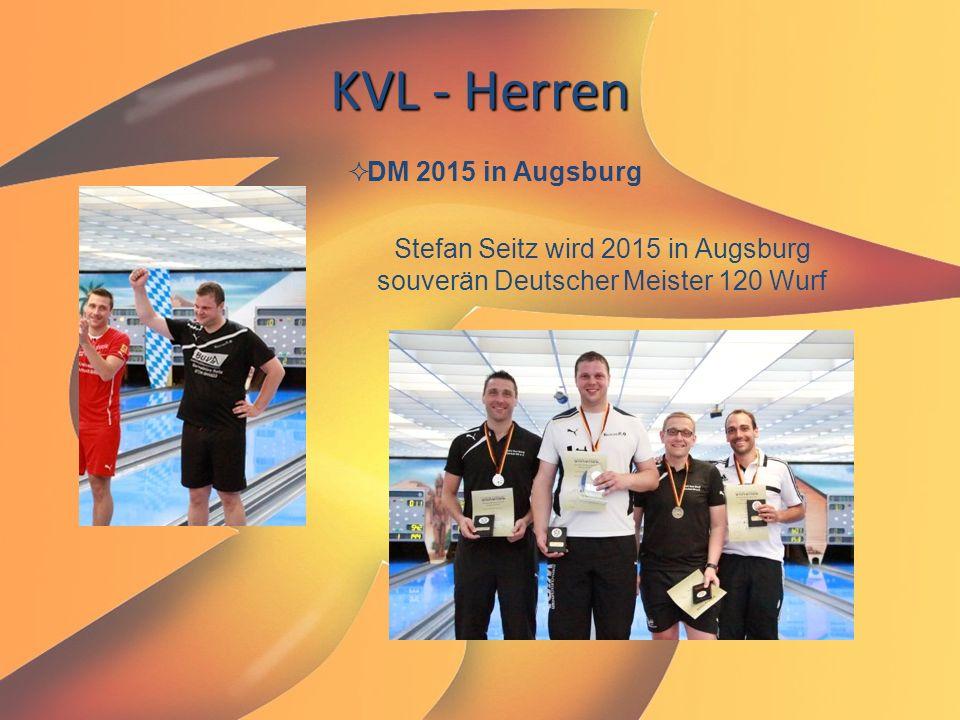 Stefan Seitz wird 2015 in Augsburg souverän Deutscher Meister 120 Wurf KVL - Herren  DM 2015 in Augsburg