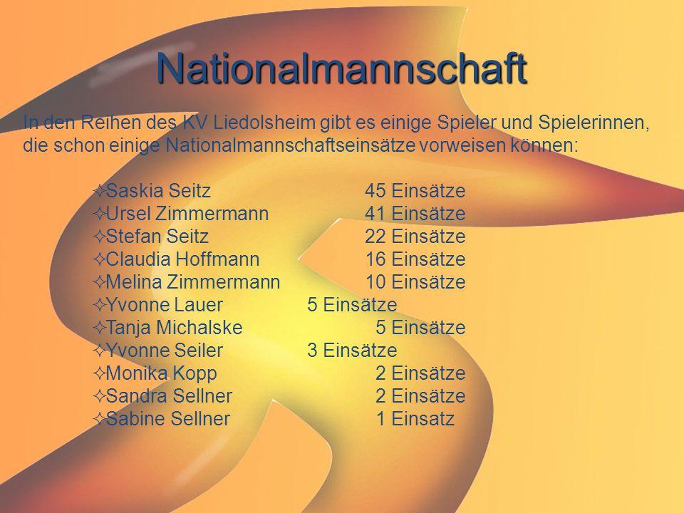 Nationalmannschaft In den Reihen des KV Liedolsheim gibt es einige Spieler und Spielerinnen, die schon einige Nationalmannschaftseinsätze vorweisen kö