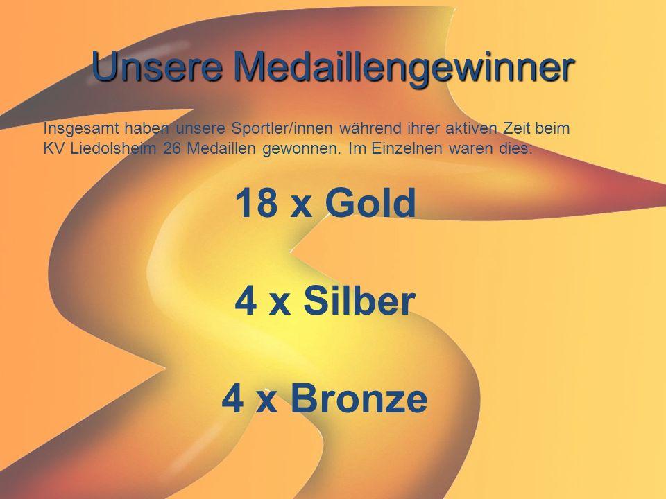 Unsere Medaillengewinner Insgesamt haben unsere Sportler/innen während ihrer aktiven Zeit beim KV Liedolsheim 26 Medaillen gewonnen. Im Einzelnen ware