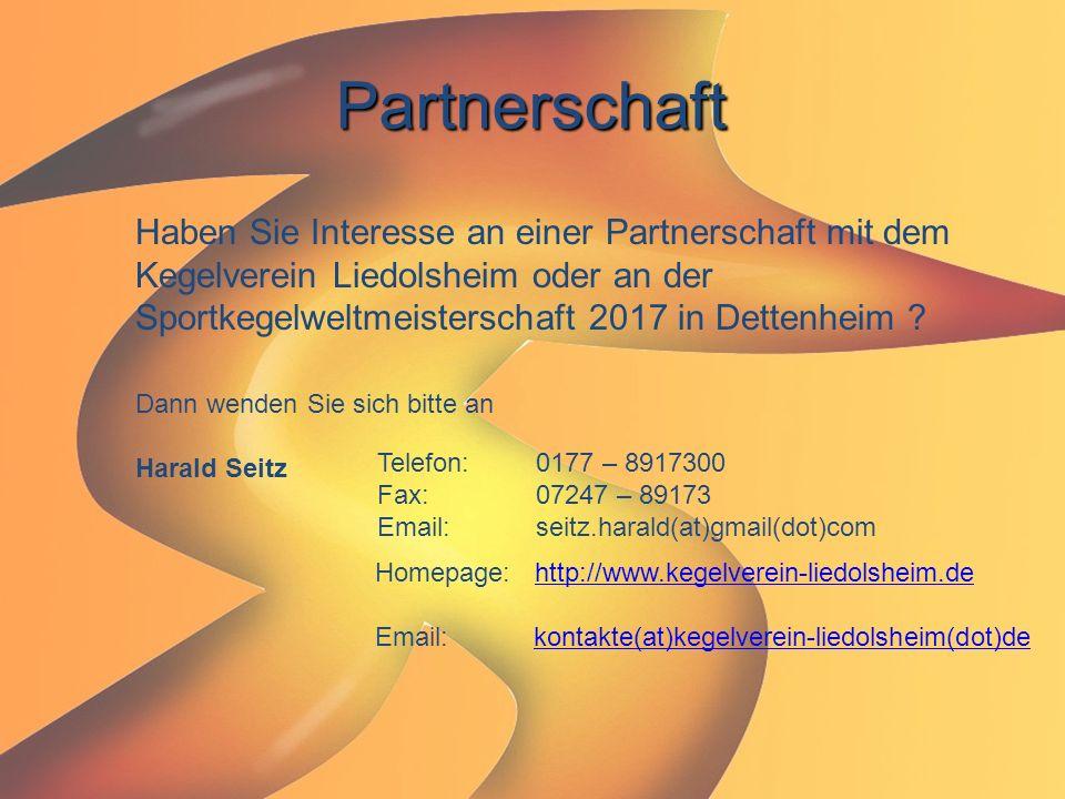 Partnerschaft Haben Sie Interesse an einer Partnerschaft mit dem Kegelverein Liedolsheim oder an der Sportkegelweltmeisterschaft 2017 in Dettenheim ?