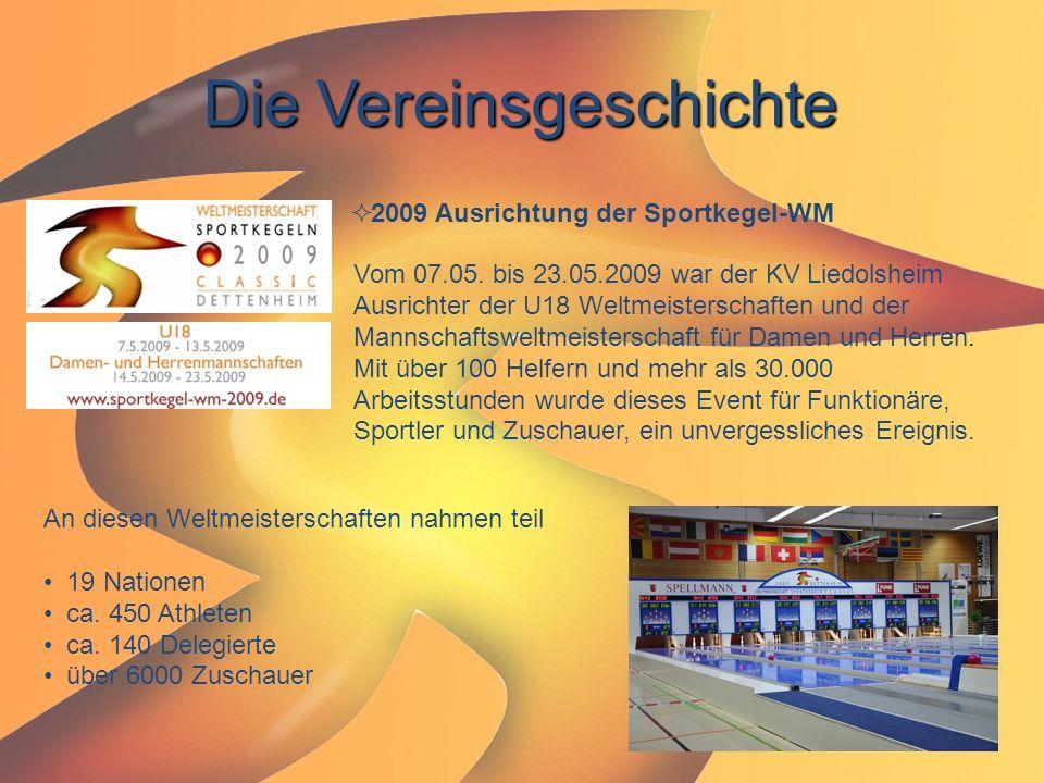 Die Vereinsgeschichte  2009 Ausrichtung der Sportkegel-WM Vom 07.05. bis 23.05.2009 war der KV Liedolsheim Ausrichter der U18 Weltmeisterschaften und