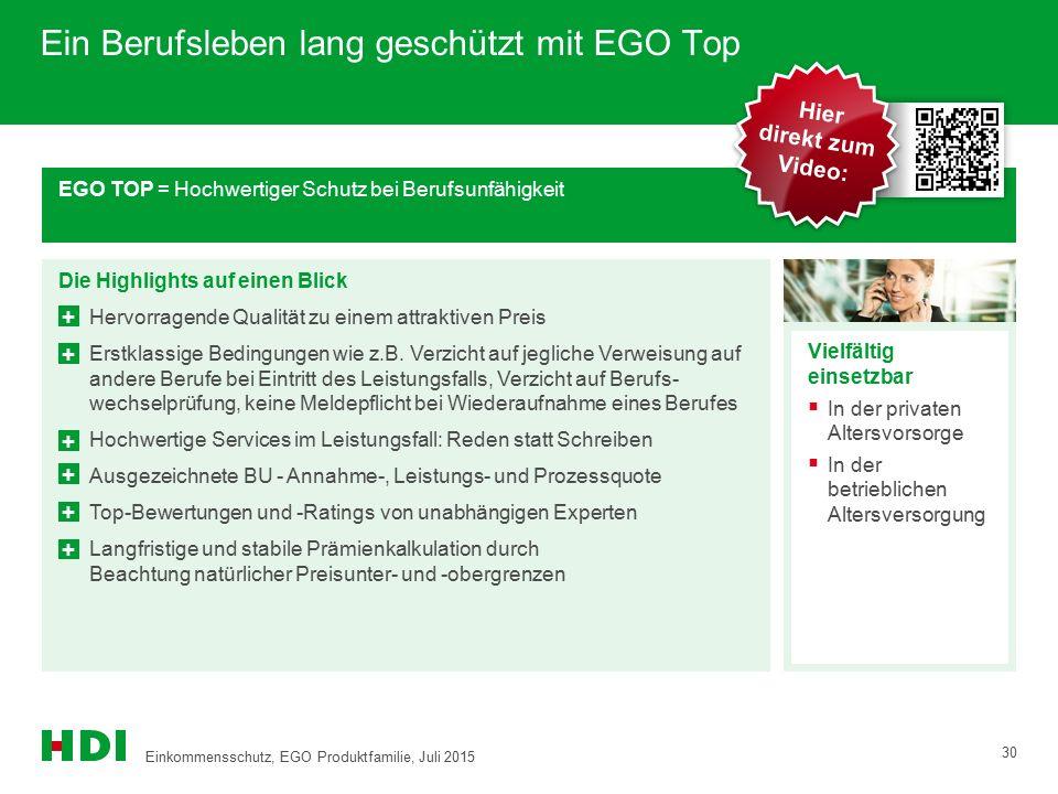 Ein Berufsleben lang geschützt mit EGO Top EGO TOP = Hochwertiger Schutz bei Berufsunfähigkeit Die Highlights auf einen Blick Hervorragende Qualität z
