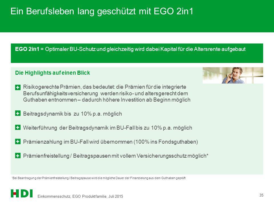 EGO 2in1 = Optimaler BU-Schutz und gleichzeitig wird dabei Kapital für die Altersrente aufgebaut Die Highlights auf einen Blick Risikogerechte Prämien