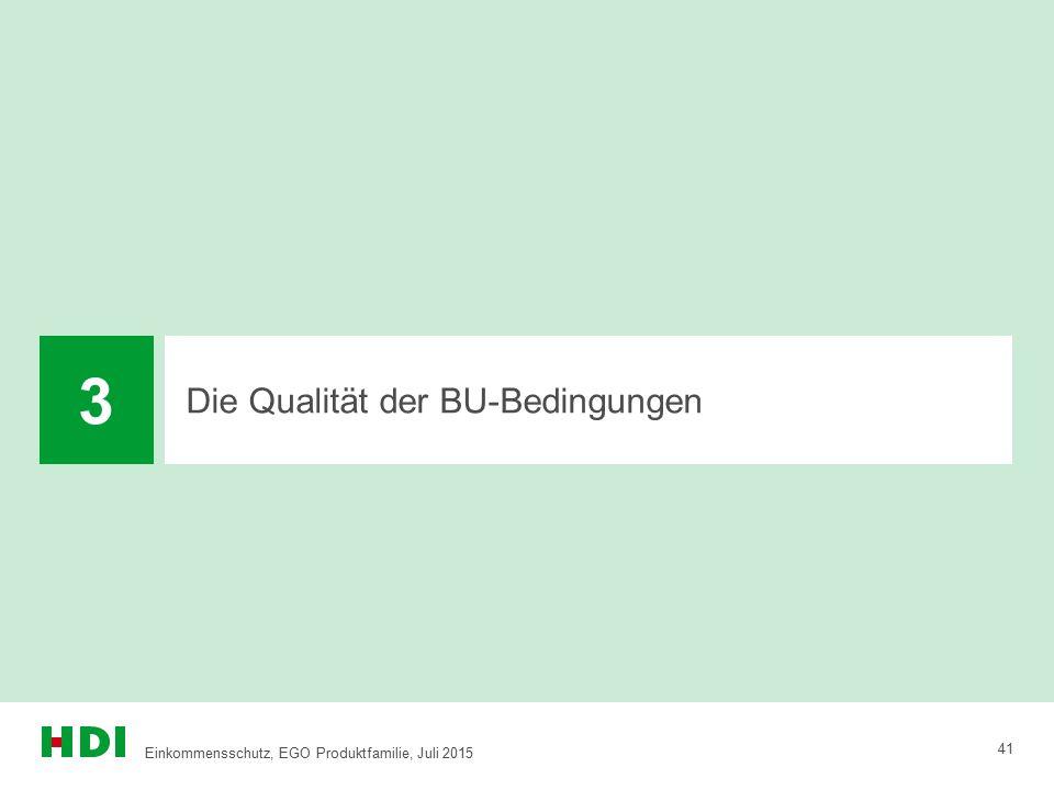 Die Qualität der BU-Bedingungen 3 41 Einkommensschutz, EGO Produktfamilie, Juli 2015