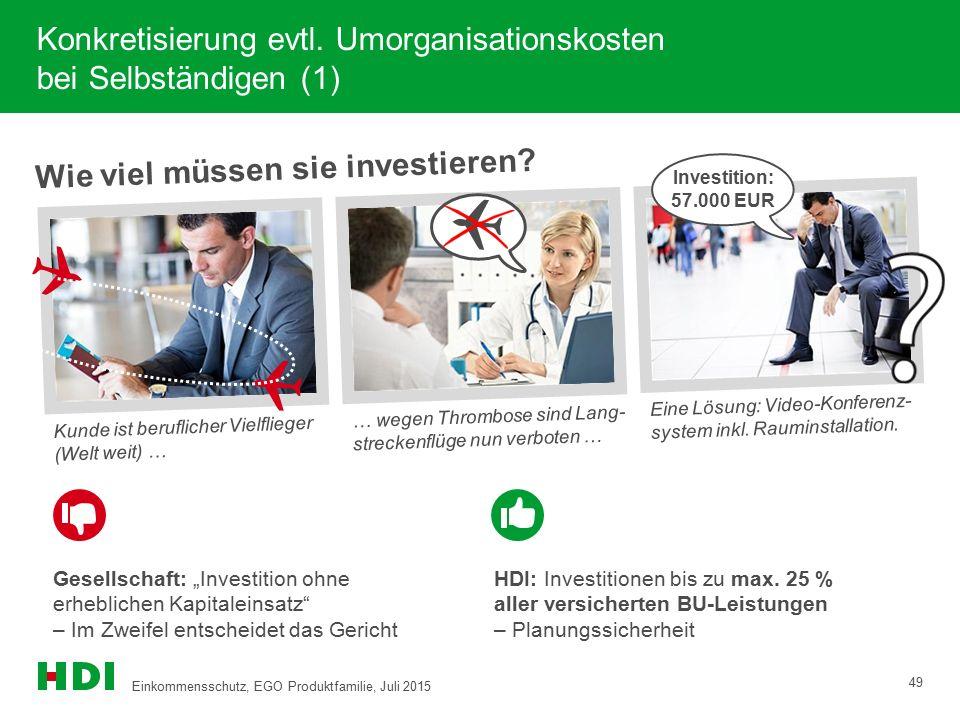 Konkretisierung evtl. Umorganisationskosten bei Selbständigen (1) Wie viel müssen sie investieren? Kunde ist beruflicher Vielflieger (Welt weit) … … w