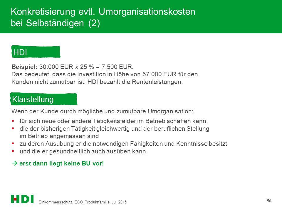 Konkretisierung evtl. Umorganisationskosten bei Selbständigen (2) Beispiel: 30.000 EUR x 25 % = 7.500 EUR. Das bedeutet, dass die Investition in Höhe