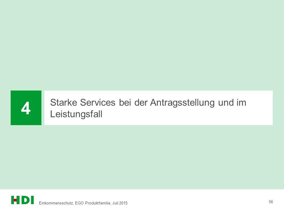 Starke Services bei der Antragsstellung und im Leistungsfall 4 56 Einkommensschutz, EGO Produktfamilie, Juli 2015