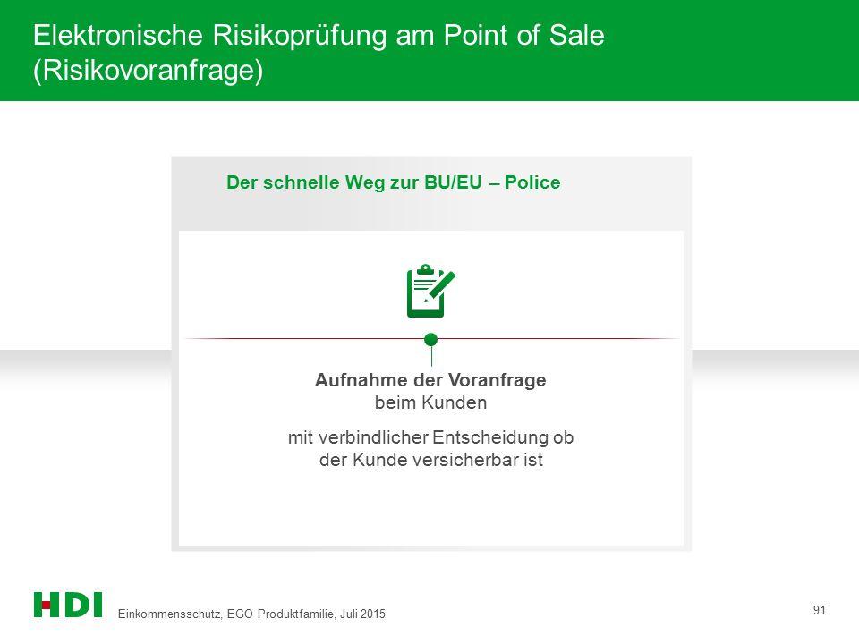 Elektronische Risikoprüfung am Point of Sale (Risikovoranfrage) 91 Der schnelle Weg zur BU/EU – Police Aufnahme der Voranfrage beim Kunden mit verbind
