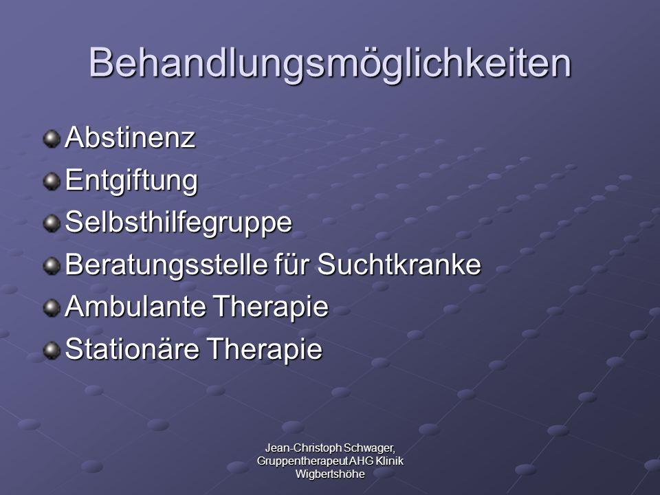 Jean-Christoph Schwager, Gruppentherapeut AHG Klinik Wigbertshöhe Behandlungsmöglichkeiten AbstinenzEntgiftungSelbsthilfegruppe Beratungsstelle für Su