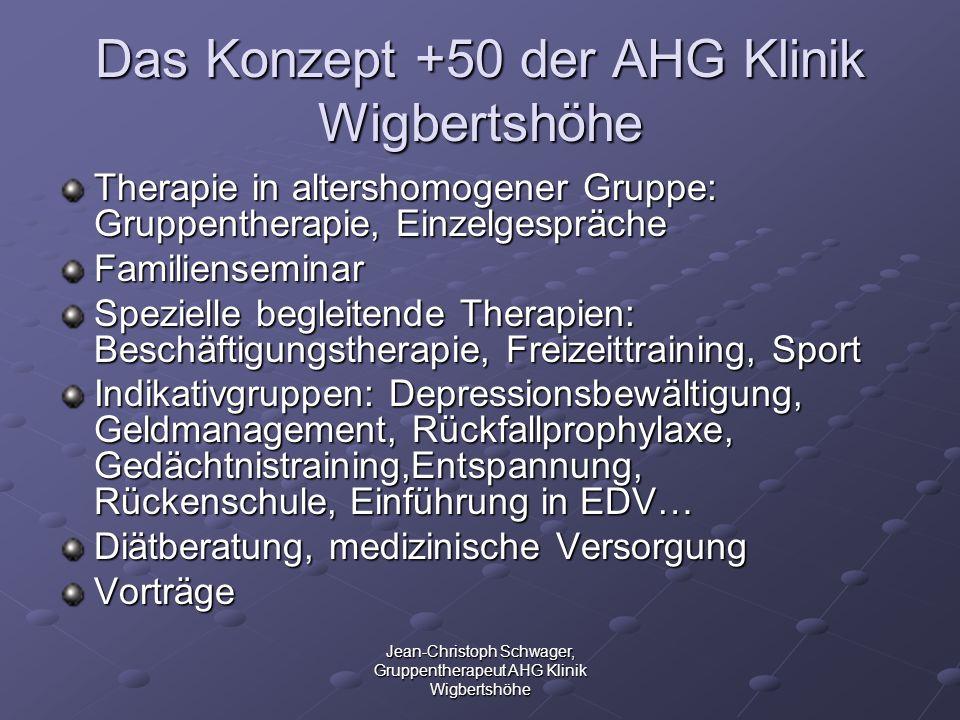Jean-Christoph Schwager, Gruppentherapeut AHG Klinik Wigbertshöhe Das Konzept +50 der AHG Klinik Wigbertshöhe Therapie in altershomogener Gruppe: Grup